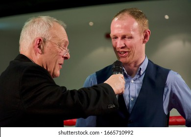 Aston, Birmingham / UK - February 22 2020: Gary Newbon with William Warburton as the boxer announces his retirement after 201 professional bouts.