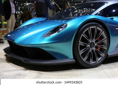 Aston Martin Vanquish Vision Supercar in Geneva International Motor Show (GIMS) in Geneva Switzerland March 2019. This turquoise car is a powerful yet beautiful piece of art with plenty of details.