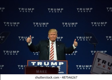 ASTON, PA - SEPTEMBER 22, 2016: Donald Trump giving the thumbs up gesture as he delivers a campaign speech at Sun Center Studios.
