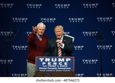ASTON, PA - SEPTEMBER 22, 2016: Donald Trump is introduced by Bobby Knight the legendary basketball coach as Trump is about to deliver a speech at Sun Center Studios.
