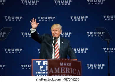 ASTON, PA - SEPTEMBER 22, 2016: Donald Trump waves to supporters as he delivers a campaign speech at Sun Center Studios.