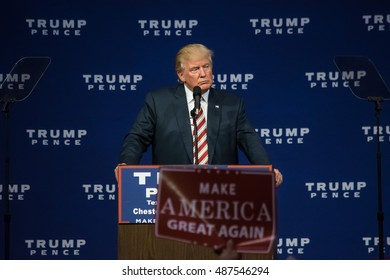ASTON, PA - SEPTEMBER 22, 2016: Donald Trump pauses as he delivers a campaign speech at Sun Center Studios.