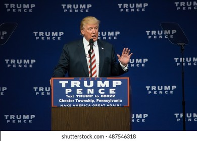 ASTON, PA - SEPTEMBER 22, 2016: Donald Trump gestures as he delivers a campaign speech at Sun Center Studios.
