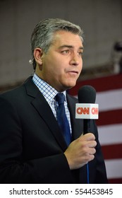 ASTON, PA - SEPTEMBER 22, 2016: Jim Acosta a CNN journalist reports from a rally for Republican Presidential Nominee Donald Trump held at Sun Center Studios.