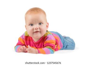 astonished baby shot over white