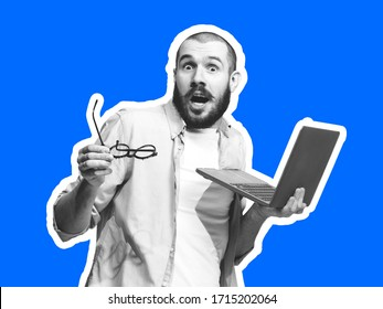 Astonished, with laptop. Collage in magazine style with emotional man in black and white contour on bright background with copyspace. Modern design, creative artwork, style and human emotions concept.