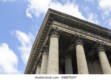 The astonishing church details of Madeleine in the center of Paris, colums close up view