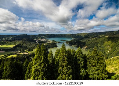 The astonishing Lagoon of the Seven Cities Lagoa das 7 cidades , in Sao Miguel Azores,Portugal.