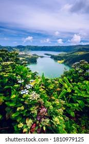 The Astonishing Lagoon Of The Seven Cities (Lagoa Das 7 Cidades), In Sao Miguel Azores, Portugal. Lagoon of the Seven Cities, Sao Miguel island, Azores. Ocean, aerial. Sao Miguel, Azores, Portugal.