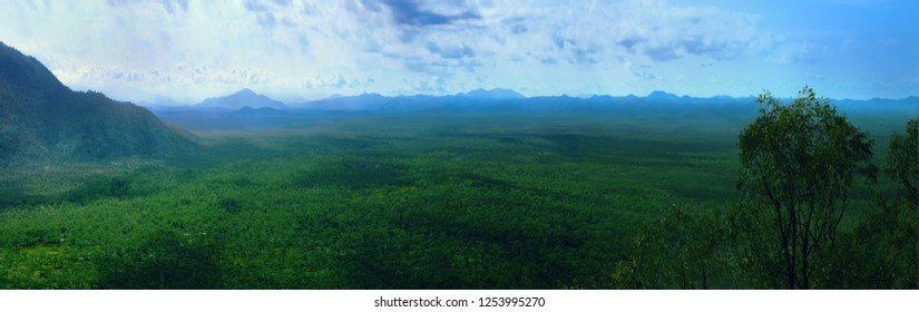 An astonishing view of a green valley with the mountains in the background. Bob's Lookout, located on the Mulligan Highway between towns Mount Carbine and Cooktown.Mareeba shire,Queensland,Australia.