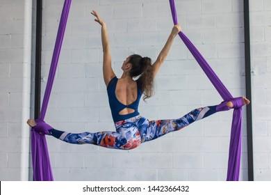 Astonishing woman Aerial Silk performance
