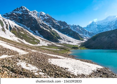 Astore Rama Lake Picturesque Breathtaking View of the Landscape and Snow Capped Mountains on a Sunny Blue Sky Day