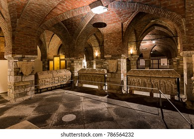 ASTORGA - SPAIN, DECEMBER 28, 2017: Basement and ground floor. Interior View of Episcopal Palace of Astorga, a building by Catalan architect Antoni Gaudi, built between 1889 and 1913.
