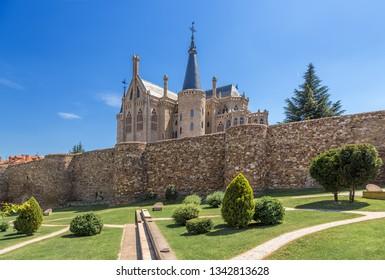 ASTORGA, SPAIN - JUN 12, 2017: Romanesque wall (III - IV centuries) and the Episcopal Palace