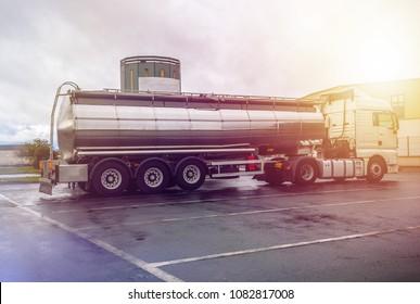 Astorga, Spain - March 23, 2018: Big tanker truck, cistern water fuel truck, trailer tanker truck