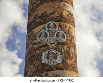 Astoria Column. Historic painted observation tower in Astoria city. Oregon State, USA. October 2, 2017