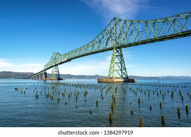 Astoria Megler Bridge crossing the Columbia River in historic Astoria, Oregon