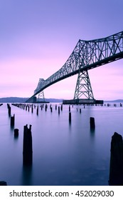Astoria Megler Bridge over Columbia River between Astoria, Oregon and Point Ellice, Washington, USA at sunrise.