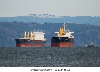 Astoria, Oregon - 2/7/2019:  Two ocean going freighters anchored off Tongue Point at Astoria, Oregon, waiting for clearence to proceed to an unloading terminal.