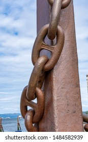 Astoria, Oregon - 8/11/2019: An anchor chain once used on a large ocean going freighter