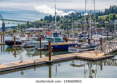 ASTORIA, OREGON - May 17, 2016: Astoria is the oldest city in Oregon, has a population of 10,000, is a cruise ship port, ends the   TransAmerica Bicycle Trail and the site of Fisher Poets Gathering