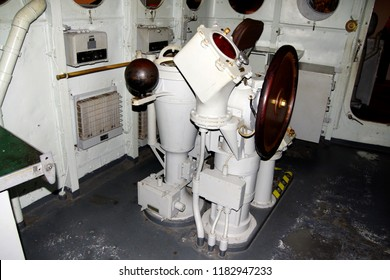 ASTORIA, OREGON - OCT 1, 2015 - Wheelroom interior of a Coast Guard Cutter, Astoria, Oregon