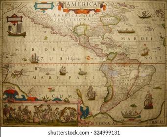 ASTORIA, OREGON - OCT 1, 2015 - Antique map of North and South America,  Columbia River Maritime Museum  Astoria, Oregon