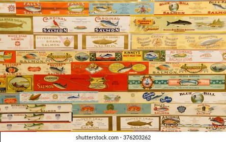 ASTORIA, OREGON - OCT 1, 2015 - Vintage labels from Oregon salmon cannneries,  Columbia River Maritime Museum