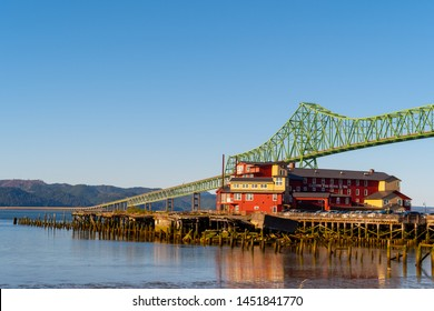 Astoria, Oregon - October 03 2017: The Cannery Pier Hotel and Spa, a luxury boutique hotel on Columbia River on the coast of Oregon next to the iconic Astoria Megler Bridge.