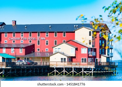 Astoria, Oregon - October 03 2017: The Cannery Pier Hotel and Spa, a luxury boutique hotel on Columbia River on the sea coast of Astoria near to the Astoria Megler Bridge.