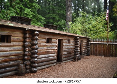 Astoria, Oregon. U.S.A.  October 21, 2017. Fort Clatsop National Park-replica of Lewis and Clark's Expedition's winter quarters December 1805-to March 1806 for 32 men, Sacagawea and Jean Baptiste.
