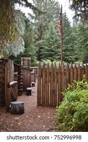 Astoria, Oregon. U.S.A.  October 21, 2017. Fort Clatsop National Park-replica of Lewis and Clark's Expedition's winter quarters December 1805-to March 1806 for 32 men, Sacajawea and Jean Baptiste.