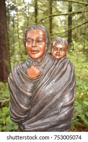 Astoria, Oregon. U.S.A.  October 21, 2017. Fort Clatsop National Park-replica of Lewis and Clark's Expedition's winter quarters December 1805-to March 1806. Sacagawea and her son  Jean Baptiste.