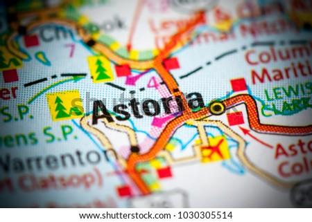 Astoria Oregon Usa On Map Stock Photo Edit Now 1030305514