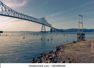 Astoria-Megler Bridge, longest crossing of the Columbia River, as seen from Astoria Oregon, near sunset