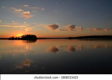 Astotin Lake during a Beautiful Sunset