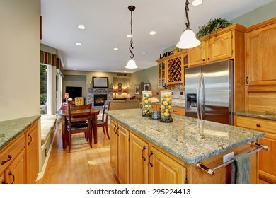 Astounding kitchen with marble island and perfect decor.