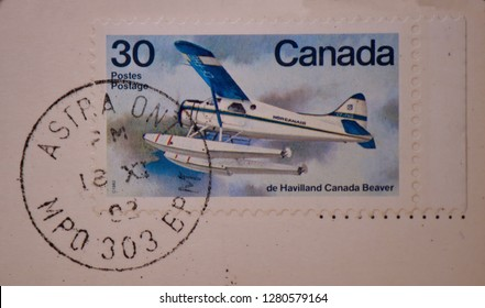 Astra, Ontario /Canada -  1982 : Postal mark on a 1982 Canada 30 cent stamp showing a Beaver aircraft.