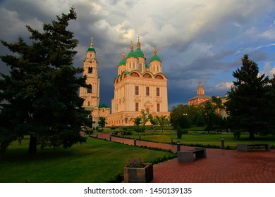 Astrakhan. Cathedral of the Assumption of the Blessed Virgin Mary. Golden domes on a background of the blue sky. Kremlin in Astrakhan, Russia. Popular touristic landmark.