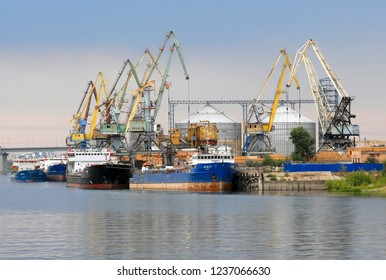 Astrakhan city,  Russia - September, 2015: Astrakhan port is one of the main river ports in Russia.