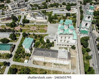 Astrakhan. Astrakhan Kremlin Fortress. Assumption Cathedral and the bell tower of the Astrakhan Kremlin. Flying drone over the Kremlin.