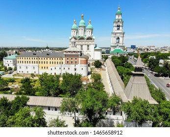 Astrakhan. Astrakhan Kremlin Fortress. Assumption Cathedral and the bell tower of the Astrakhan Kremlin. Flying drone over the Kremlin. Panorama of the city of Astrakhan. park for rest and walks.