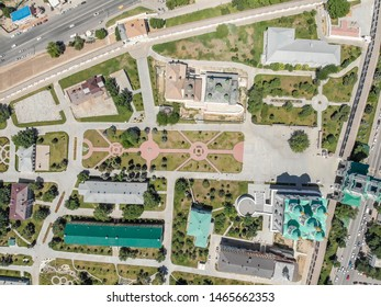 Astrakhan. Astrakhan Kremlin view from a height. Fortress. Assumption Cathedral and the bell tower of the Astrakhan Kremlin. Flying drone over the Kremlin. Panorama of the city of Astrakhan. park for
