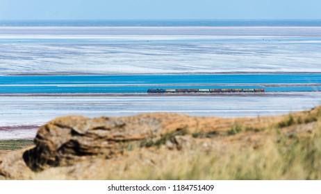 Astrakhan region, lake Baskunchak. Salt production. View from Big Bogdo mountain. Bogdinsko-Baskunchakskiy reserve.