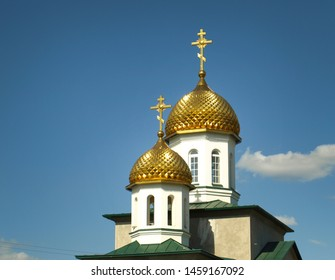 Astrakhan. Russia. 07.13.17. The architecture of the city. The golden domes of the Christian church in the city of Astrakhan. Russia.