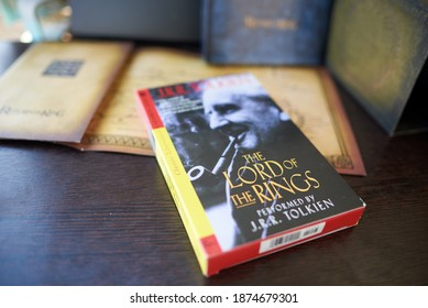Astrakhan, Russia - 12.15.2020: Audio cassette cover of the Lord of the Rings performed by J.R.R.Tolkien