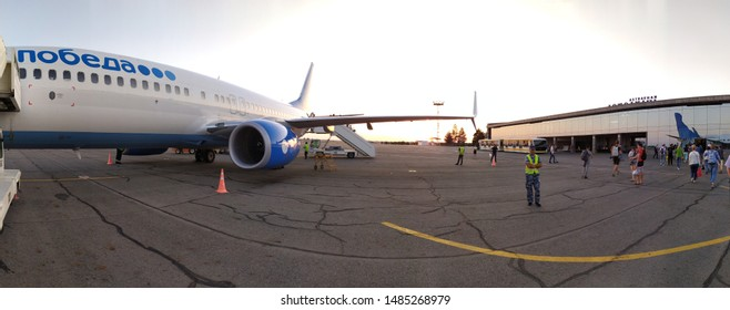 Astrakhan Russia, 22 Aug. 2019: Pobeda lowcoster airliner in the Narimanovo airport, Astrakhan