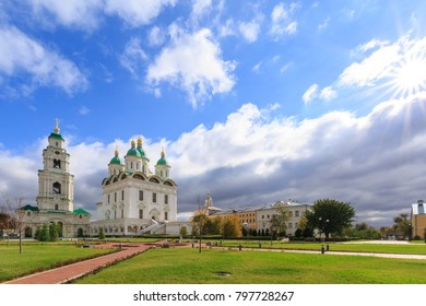 ASTRAKHAN, RUSSIA, 23 OCTOBER 2017: Panoramic photo overlooking the Uspensky Cathedral and Prechistenskaya Bell Tower of the Astrakhan Kremlin