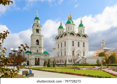 ASTRAKHAN, RUSSIA, 23 OCTOBER 2017: The Uspensky Cathedral and Prechistenskaya Bell Tower of the Astrakhan Kremlin in sunny day