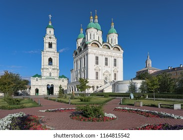 ASTRAKHAN, RUSSIA - AUGUST 13, 2018: Assumption Cathedral and Bell Tower in Astrakhan Kremlin. The cathedral was built in 1699-1710 by architect Dorotheos Myakishev. The bell tower was built in 1910.